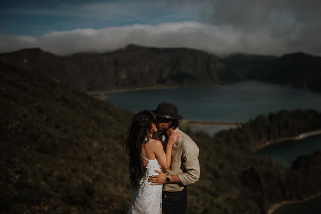 Wedding Videographer NY Elopement in the Azores in front of beautiful lake in the mountains