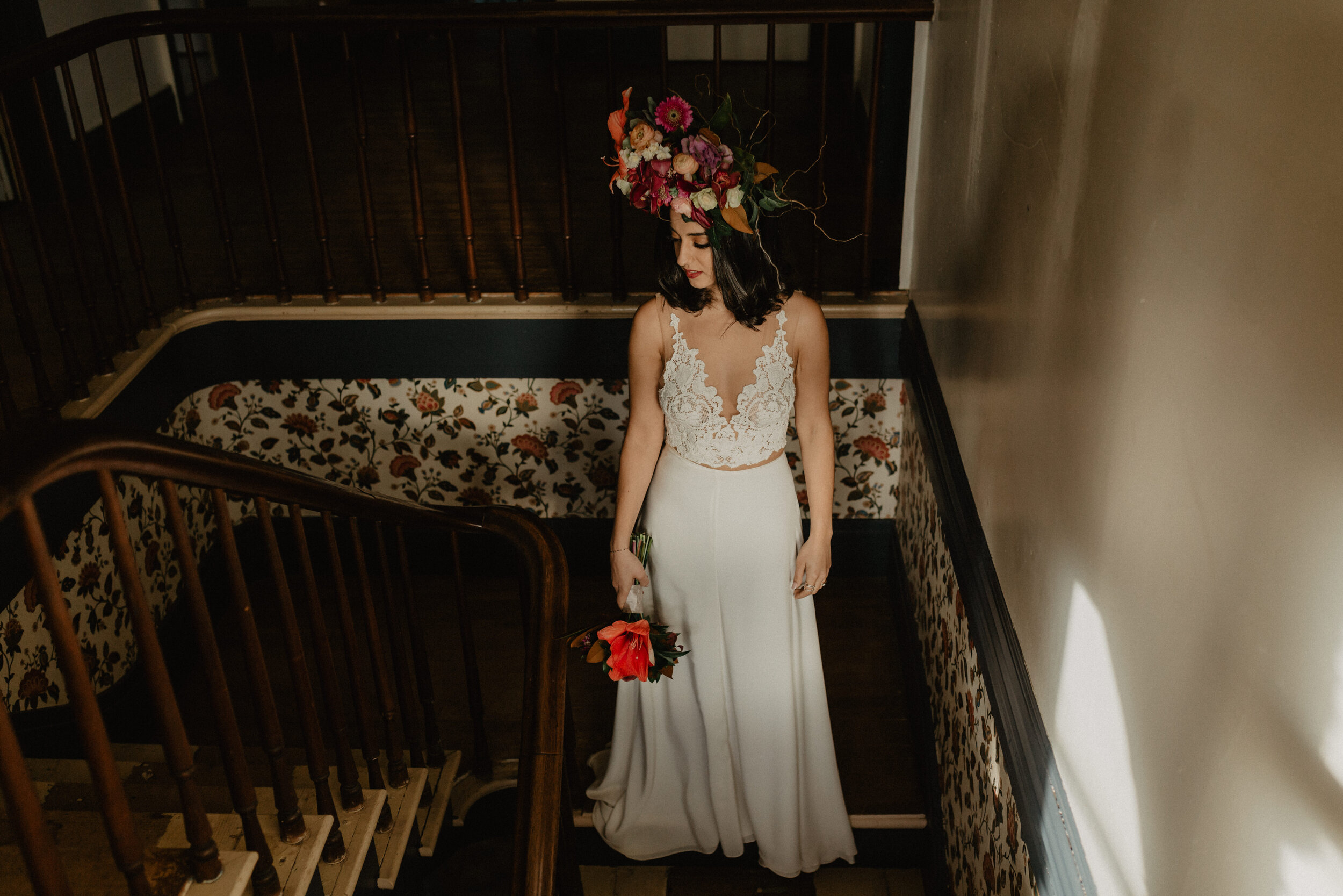 Wedding Gown and Floral Crown