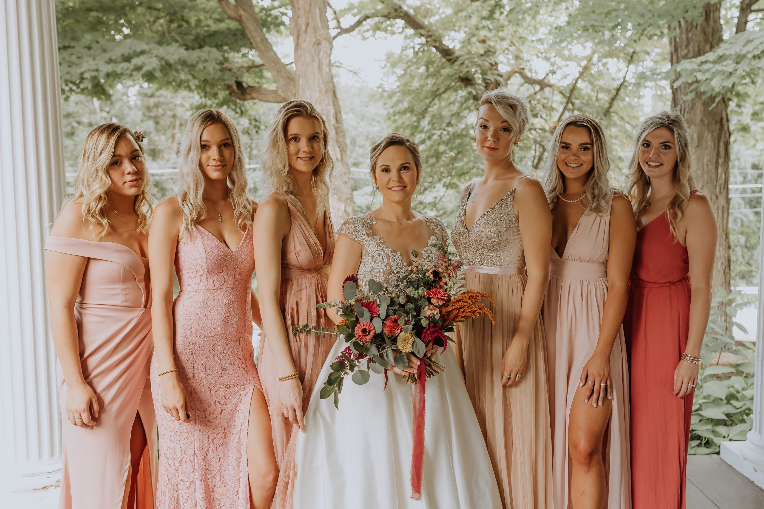Bride and her six Sisters